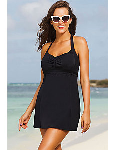 Black Retro Halter Swimdress by Swim & Sun