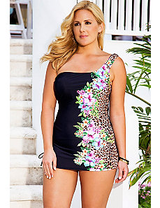 Leopard Tropical One Shoulder Swimdress by Swim & Sun