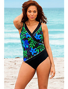 Blue Chopstix Shirred Surplice Swimsuit by Longitude