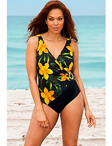 Yellow Rajah Ring Surplice Swimsuit by Longitude
