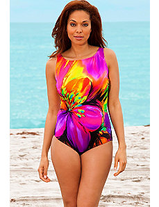 Pink Fiesta High Neck Swimsuit by Longitude