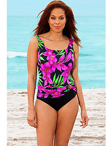 Pink Spiked Leaves Sash Tank Swimsuit by Longitude