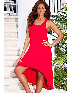 Red High/Low Racer Back Tank Dress by Swim & Sun