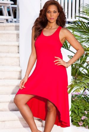 Red High/Low Racer Back Tank Dress