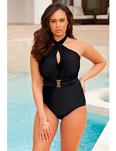 Monroe Black Cross Over Halter Swimsuit by Swim Sexy