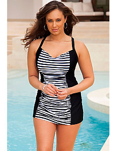 Marilyn Black Stripe Cross Back Swimdress by Marilyn Monroe