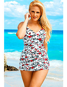 Rose Cross Back Swimdress by Swim & Sun