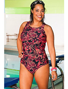 Chlorine Resistant Caliente Highneck Swimsuit by Aquabelle