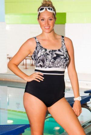 Chlorine Resistant Monochrome Floral Swimsuit