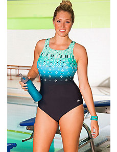 Chlorine Resistant Citrine High Neck Swimsuit by Aquabelle