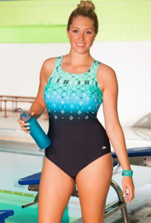 Chlorine Resistant Citrine High Neck Swimsuit