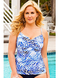 Lasting Impressions Twist Front Tankini Top by Swim Sexy