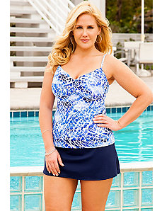 Lasting Impressions Twist Front Side Slit Skirtini by Swim Sexy