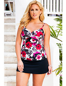 Poppy Splash Twist Front Side Slit Skirtini by Swim Sexy
