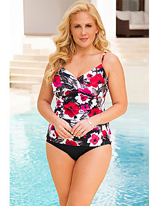 Poppy Splash Twist Front Tankini by Swim Sexy