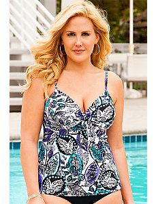 Leaf Play Underwire Tie Front Tankini Top by Swim Sexy