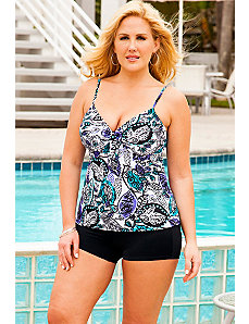 Leaf Play Underwire Tie Front Boy Shortini by Swim Sexy