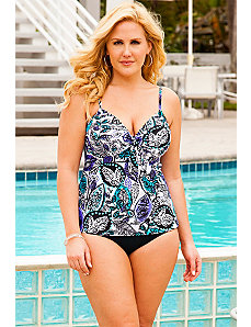 Leaf Play Underwire Tie Front Tankini by Swim Sexy