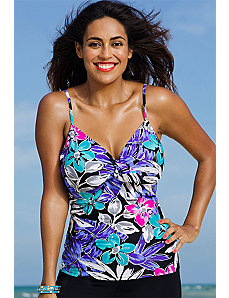 Garden Party Underwire Tie Front Tankini Top by Swim Sexy