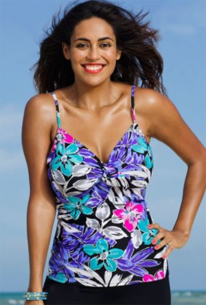Garden Party Underwire Tie Front Tankini Top