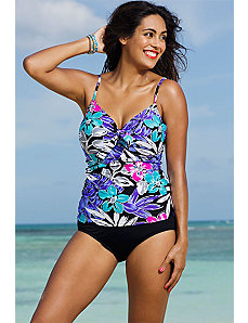 Garden Party Underwire Tie Front Tankini by Swim Sexy