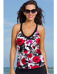 Poppy Splash V-Neck Sport Tankini Top by Swim & Sun