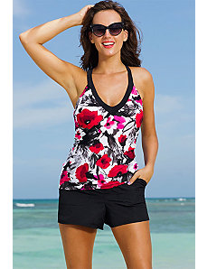 Poppy Splash V-Neck Sport Cargo Shortini by Swim Sexy