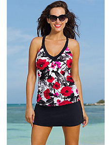 Poppy Splash V-Neck Sport Slit Skirtini by Shore Club