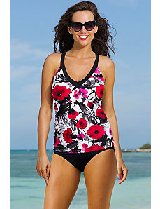 Poppy Splash V-Neck Sport Tankini by Shore Club
