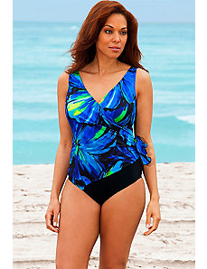 Blue Darling Surplice Swimsuit by Longitude