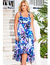 San Juan Blue Palm High/Low Cross Back Dress by Swim & Sun