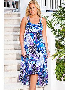 San Juan Blue Palm High/Low Cross Back Dress by s4a