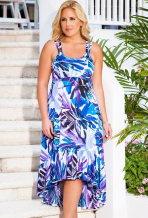 San Juan Blue Palm High/Low Cross Back Dress