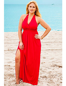 Red Maxi Halter Dress by s4a