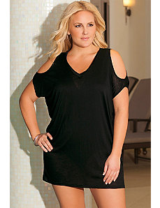Eclipse V-Neck Slit Shoulder Tunic by SFA House Brand