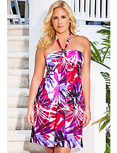 San Juan Purple Palm Draped Halter Dress by Swim & Sun