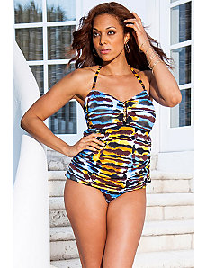 Abstract Tie Dye Beaded Bandeaukini by Swim Sexy