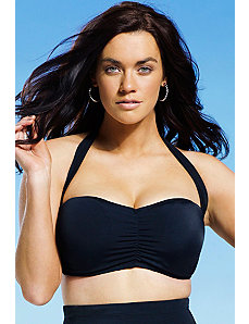 Black Retro Bandeau/Halter Bikini Top by Swim Sexy