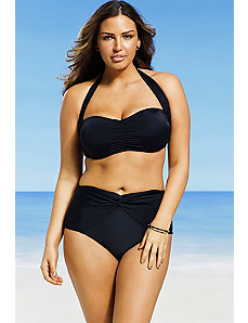 Black Retro Bandeau/Halter Twist Front Bikini by Swim Sexy