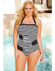 Stripes Bandeau Swimsuit by Swim Sexy