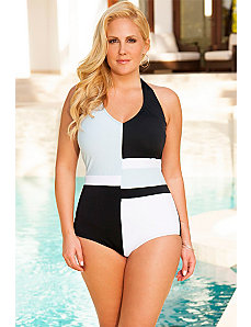 Color Block V-Neck Swimsuit by Swim Sexy