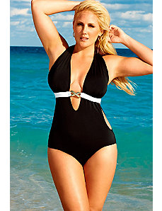 Black and White Monokini with Hardware by Swim Sexy