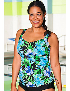 Chlorine Resistant Oceanic Shirred Tankini Top by Aquabelle