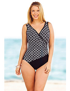 Linked In Surplice Maillot by Delta Burke