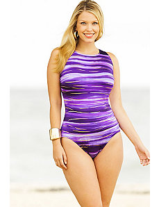 Purple South Seas Highneck Tank Swimsuit by Longitude