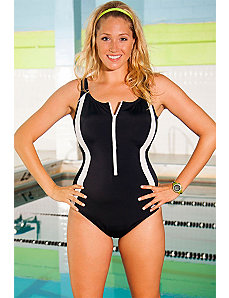Chlorine Resistant Black Zip Front Swimsuit by Aquabelle