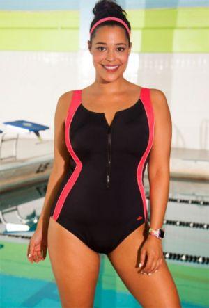 Chlorine Resistant Coral Zipper Front Swimsuit