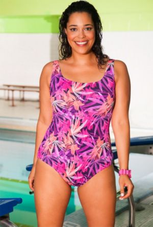 Chlorine Resistant Pink Flare Swimsuit