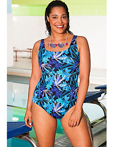 Chlorine Resistant Blue Flare Swimsuit by Aquabelle