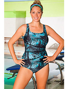 Chlorine Resistant Green Labyrinth Swimsuit by Aquabelle